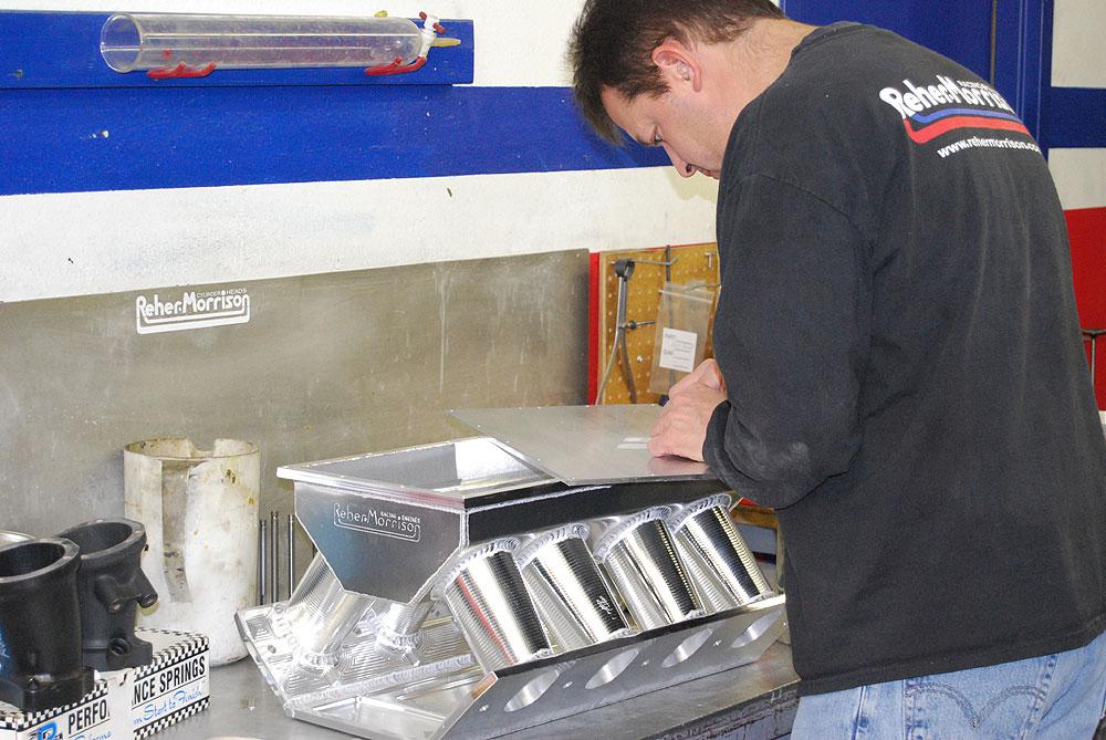 Brad laying out billet intake manifold top