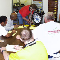 Students learn proper method to degreeing in a camshaft